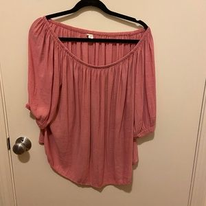 Pink Off the Shoulder Flowy Blouse